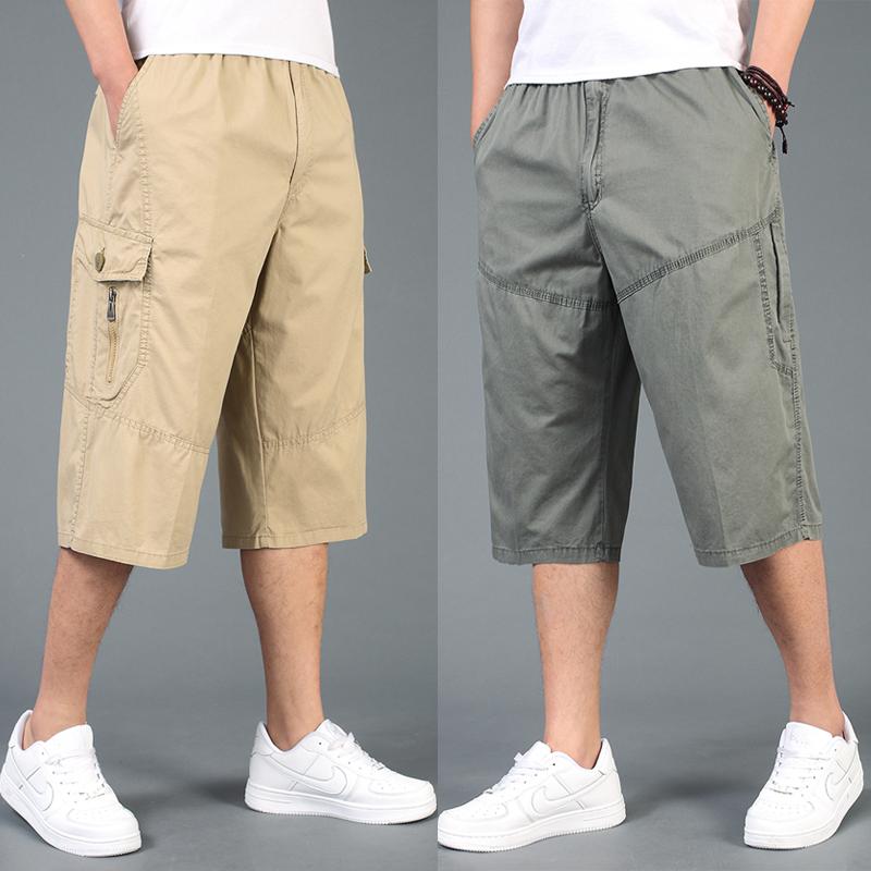 宽松加大运动男士中年短裤工装七分裤马裤夏季沙滩