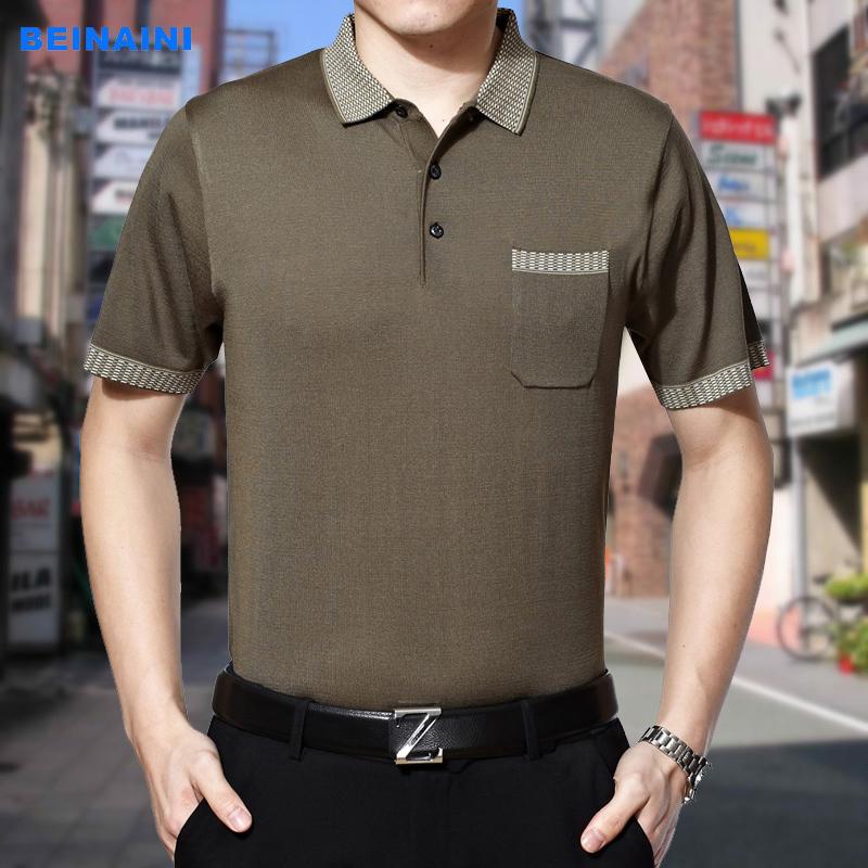 16新款中年男士免烫短袖T恤翻领上衣 大码休闲针织体恤衫男装