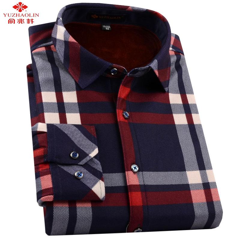 俞兆林男式保暖衬衫冬款中年男士针织加绒加厚格子加棉衬衣爸爸装