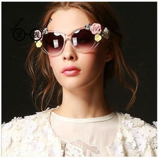 包邮复古巴洛克花朵太阳镜女士夏日潮流墨镜立体玫瑰花太阳眼镜