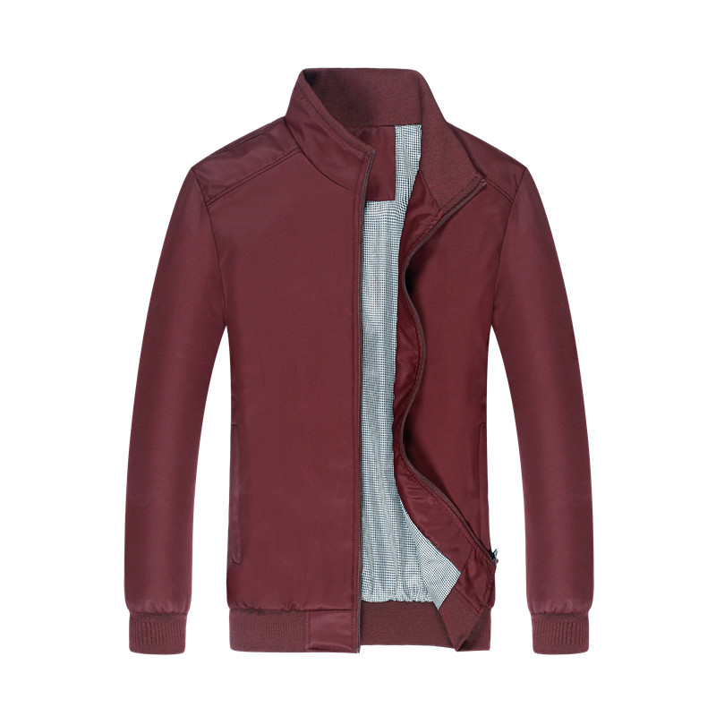 2016男士秋季外套修身纯色中年夹克男 立领简约爸爸装 jacket包邮