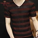港士博男士V领针织短袖T恤韩版修身青年毛衣薄款夏季半袖上衣服潮