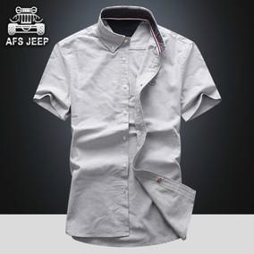战地吉普衬衫男短袖夏季韩版修身青年寸衫大码休闲白衬衣男士潮流