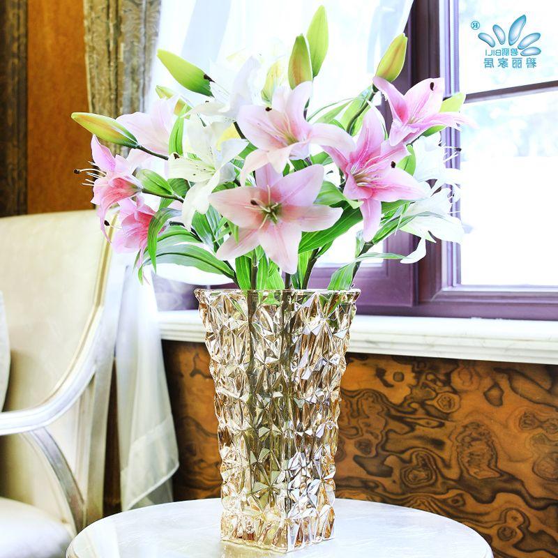 现代简约艺术玻璃花瓶欧式富贵竹水培花器干花家居