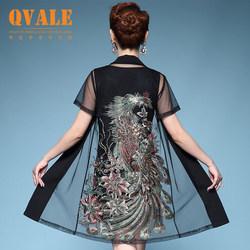 时尚中老年女装春夏装中年胖妈妈装套装韩版连衣裙短袖宽松两件套