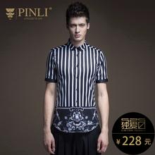 PINLI品立 2017夏季新款男装 修身潮流短袖衬衫男上衣B172813369