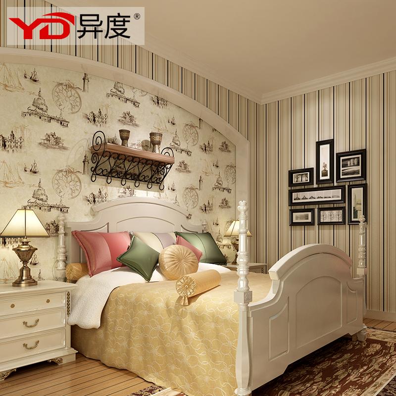 异度壁纸 美式儿童风格墙纸 卧室客厅帆船条纹ab版墙纸 83401 a版图片