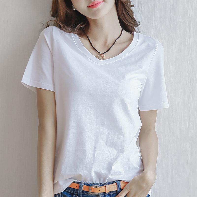 打底上衣體恤女士寬松純白短袖簡約夏季白色純棉