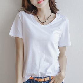 夏季短袖白色V领t恤女士宽松简约百搭纯白打底衫纯棉韩版上衣体恤