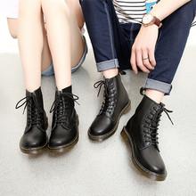 高帮马丁靴男英伦情侣短靴休闲男女靴子真皮圆头军靴登山工装靴鞋