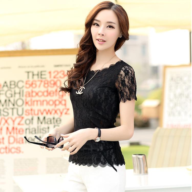 大码女装夏季韩版修身蕾丝衫圆领t恤上衣打底衫女短袖中老年女装