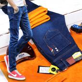弹力加绒牛仔裤男秋冬款加厚保暖修身型青年小脚裤青少年显瘦长裤