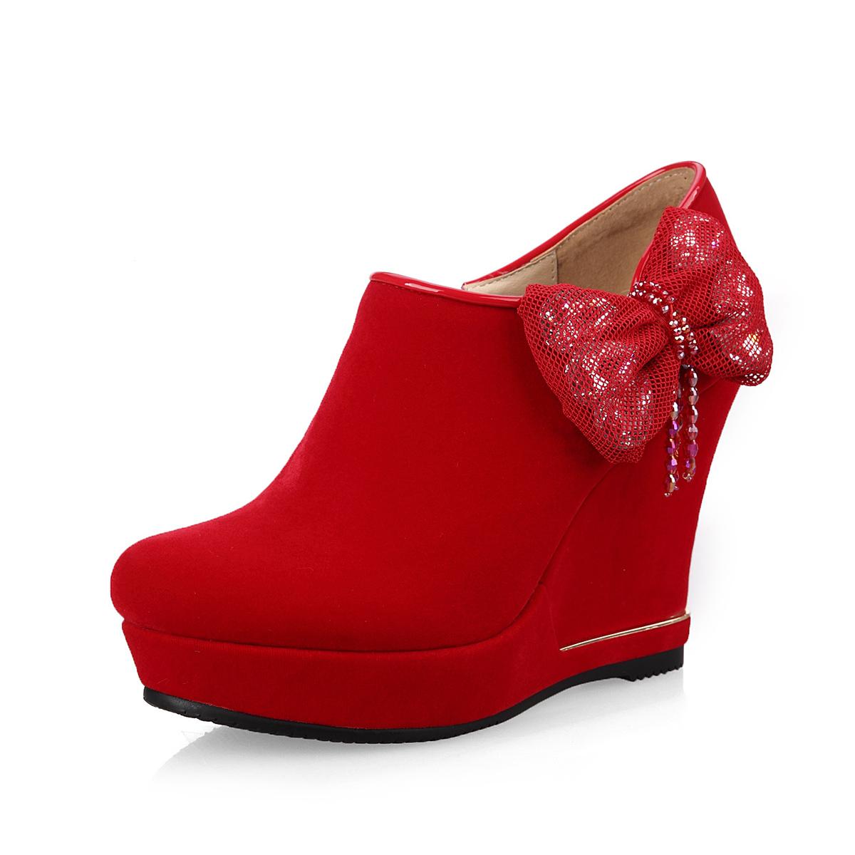 2017高端女鞋春季时尚及踝靴欧美舒适坡跟圆头蝴蝶结单鞋单靴