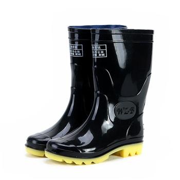 正品双钱中筒雨鞋男士雨靴中高筒防滑耐酸碱牛筋底劳保胶靴水鞋