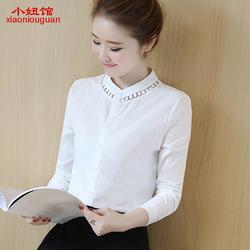 加绒白衬衫2017春款女装长袖韩版保暖冬季新款加厚内搭寸衫衣服