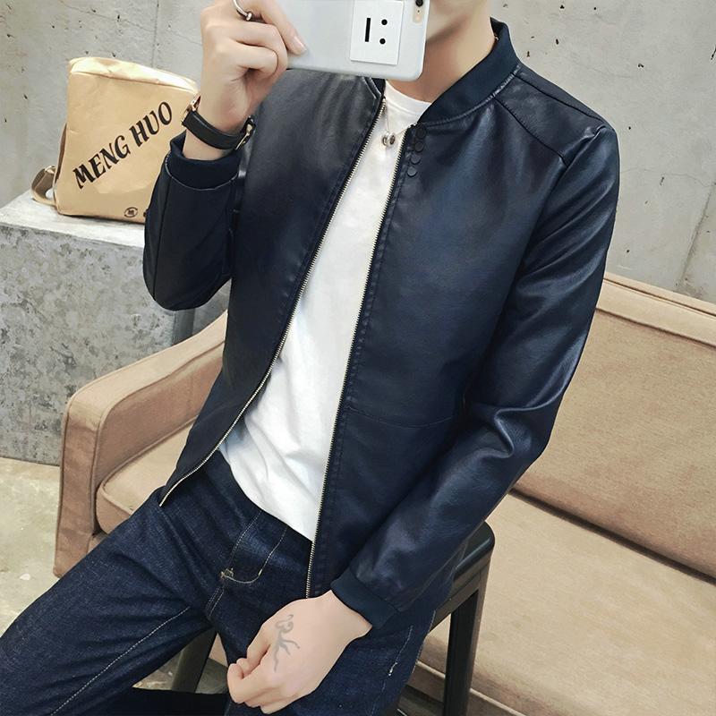 皮衣男韩版青少年学生棒球领外套PU皮机车男士夹克衫潮春秋装