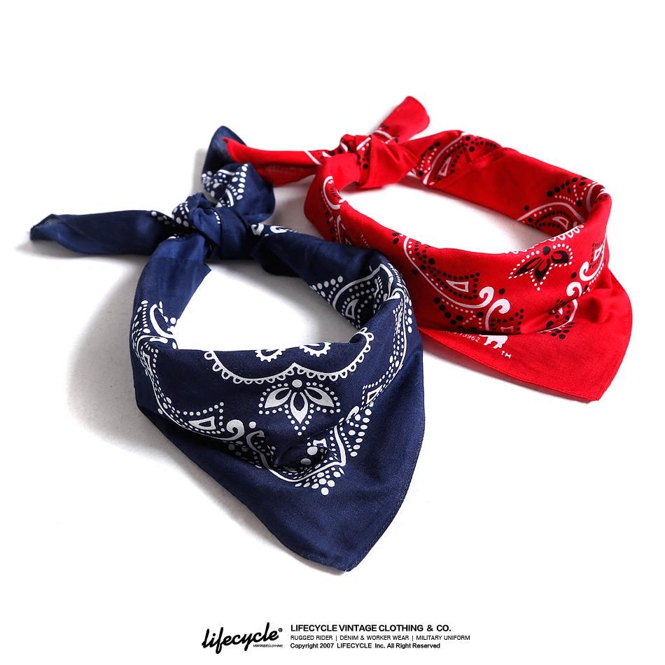 LifeCycle阿美咔叽复古机车头巾bandana腰果花领巾潮牌情侣小方巾