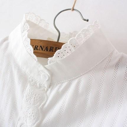 2017新款韩版修身百搭长袖打底衫花边立领小清新纯棉短袖白衬衫女