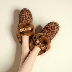 2015秋冬新款加绒豆豆鞋厚底毛毛鞋兔毛蝴蝶结雪地靴保暖棉鞋