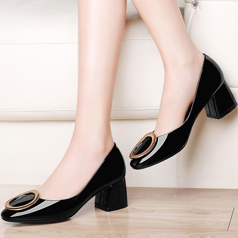 步菲特英伦高跟鞋浅口单鞋低帮休闲鞋春季时尚粗跟女鞋新款工作鞋