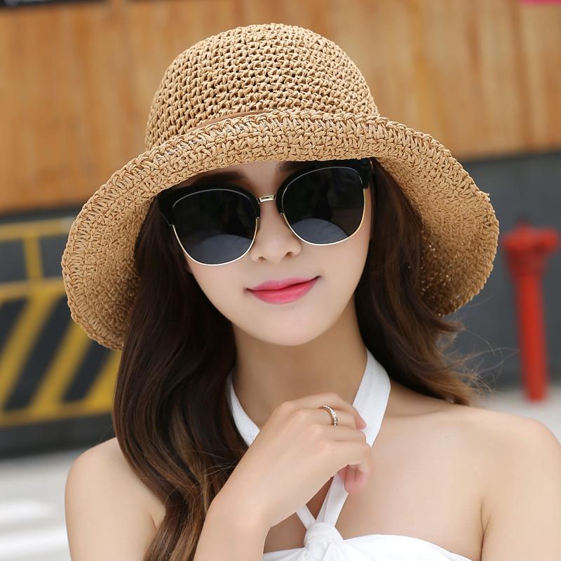 遮阳帽草帽太阳帽帽子夏天渔夫出游沙滩海边防晒