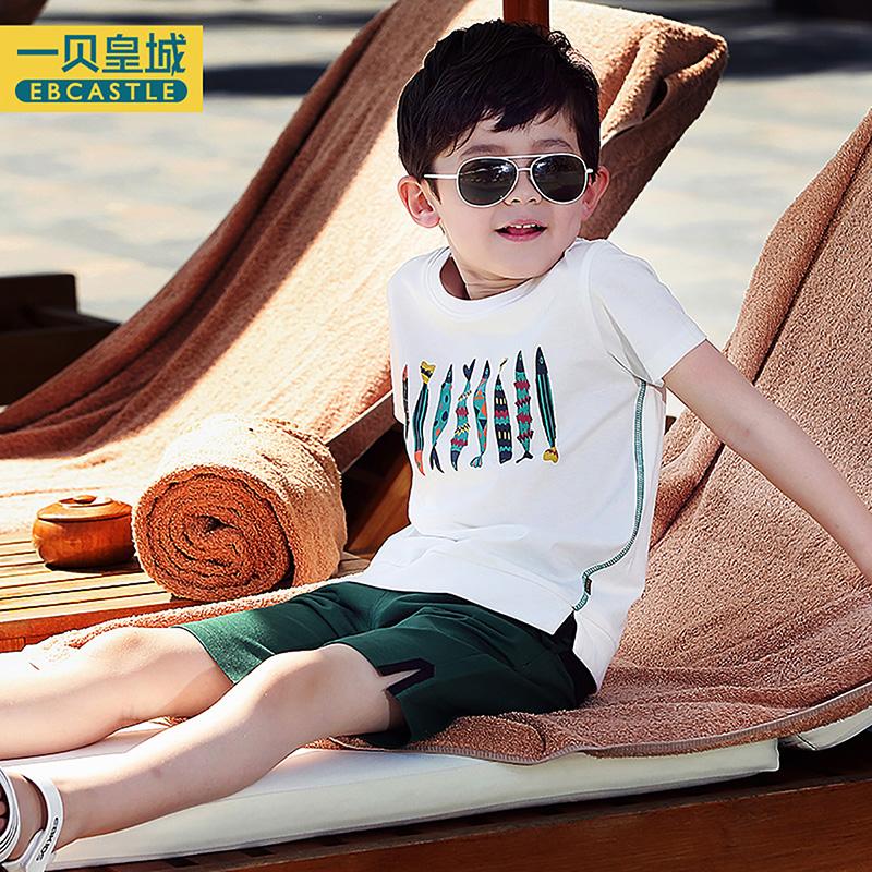 童装纯棉体恤中大童韩版白色儿童短袖半袖 夏装男童