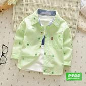 小孩婴儿衬衣男女童长袖条纹纯棉棉布衬衫宝宝春秋装小童上衣