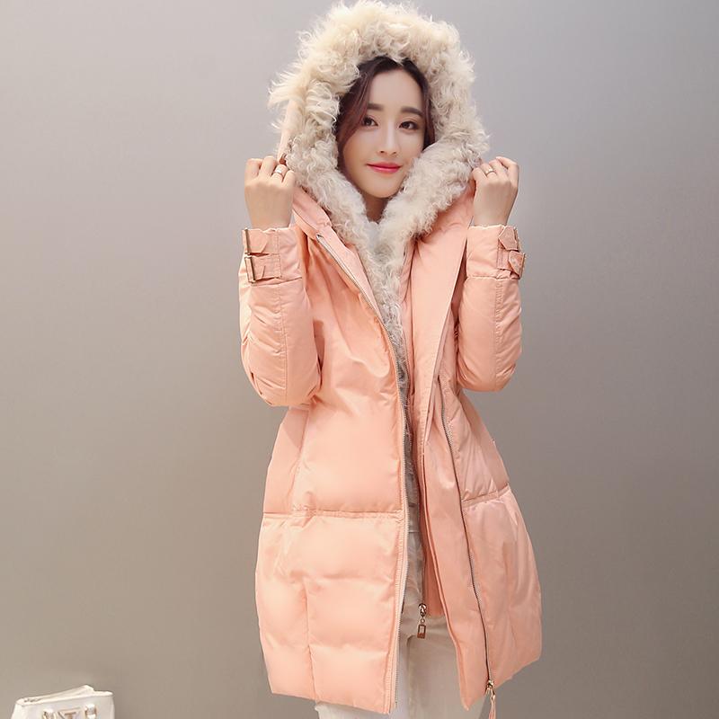 中长款加厚羊羔毛领韩国版修身显瘦时尚白鸭绒羽绒服女装冬季外套