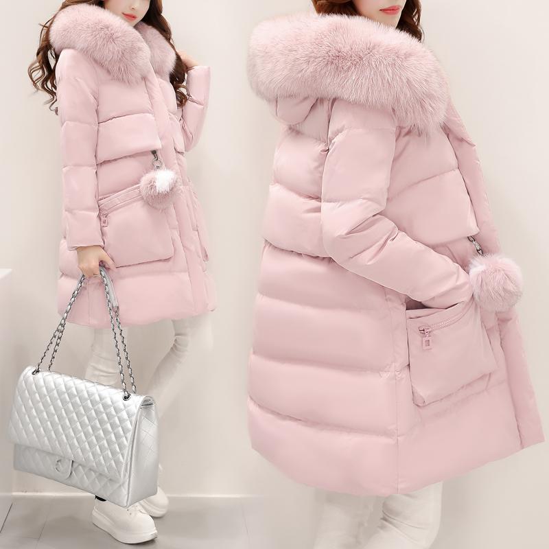 長款氣質清倉加厚女裝時尚修身大毛外套羽絨服