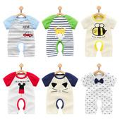 女婴儿连体衣服新生儿睡衣0纯棉3夏季1岁男宝宝哈衣6个月薄款夏装