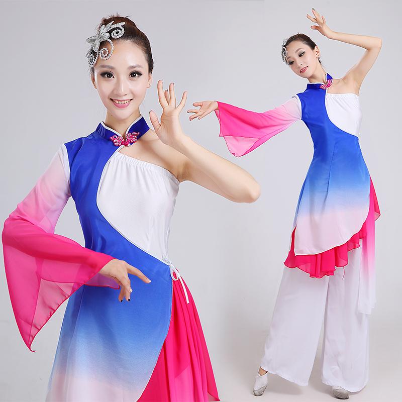 古典舞演出服成人女伞舞现代广场舞舞蹈服装中老年秧歌服2017新款