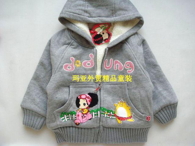 全场7折*韩国迷糊娃娃ddung冬己 灰色羊羔绒带帽外套/棉服LWT001