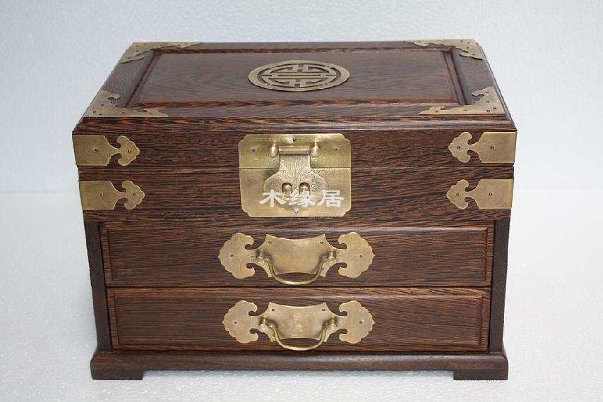 鸡翅木二抽屉款首饰盒(内有仿古铜锁) 化妆盒